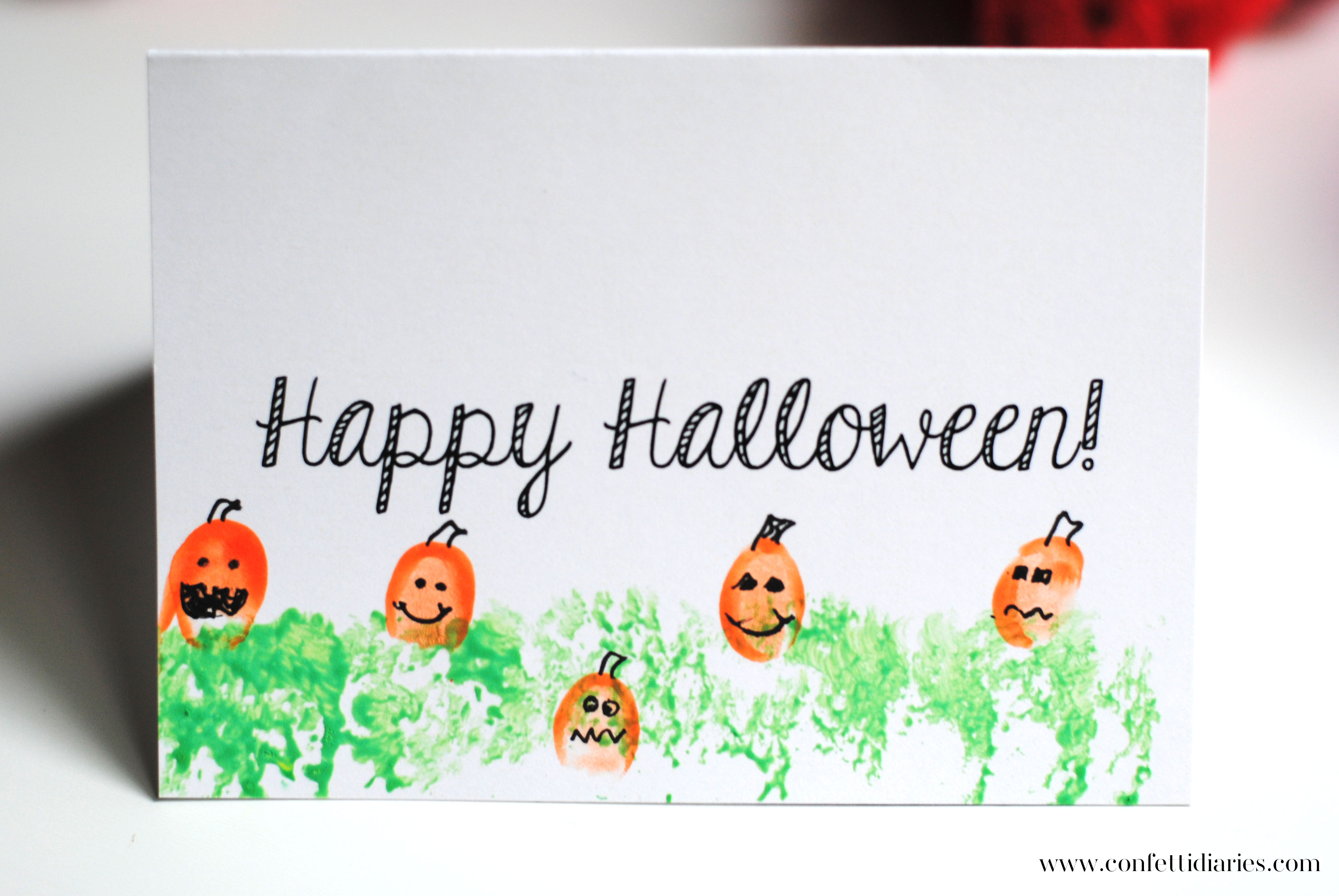 graphic about Printable Halloween Card referred to as Totally free Printable Halloween Fingerprint Pumpkin Patch Playing cards