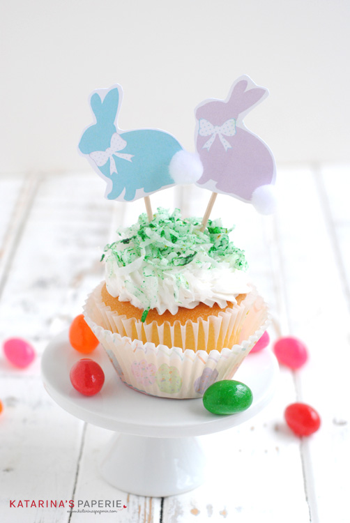 Free printable bunny cupcake toppers by Katarina's Paperie