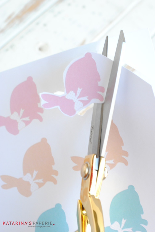 Cutting out free printable bunny toppers by Katarina's Paperie