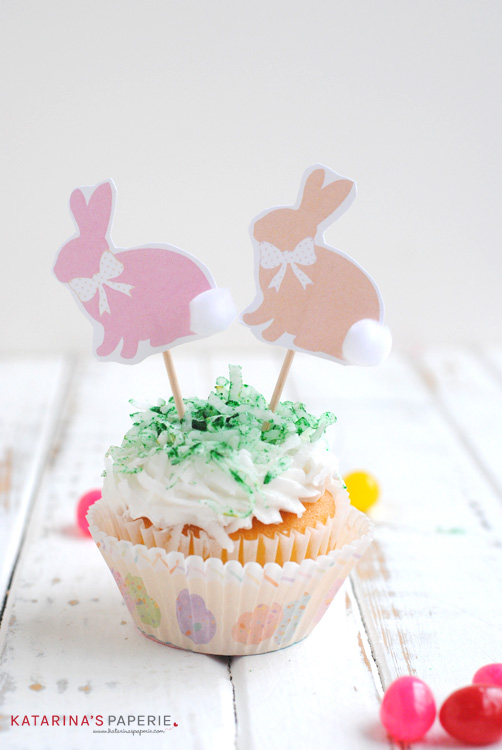 Free printable bunny toppers by Katarina's Paperie