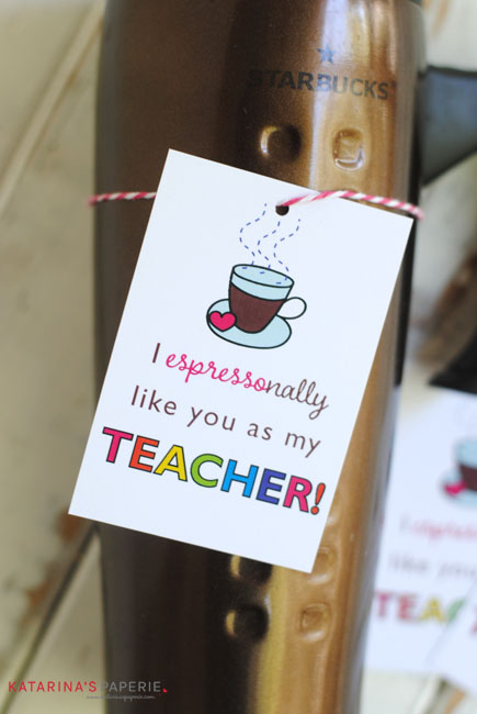 Free printable teacher appreciation coffee tag by Katarina's Paperie