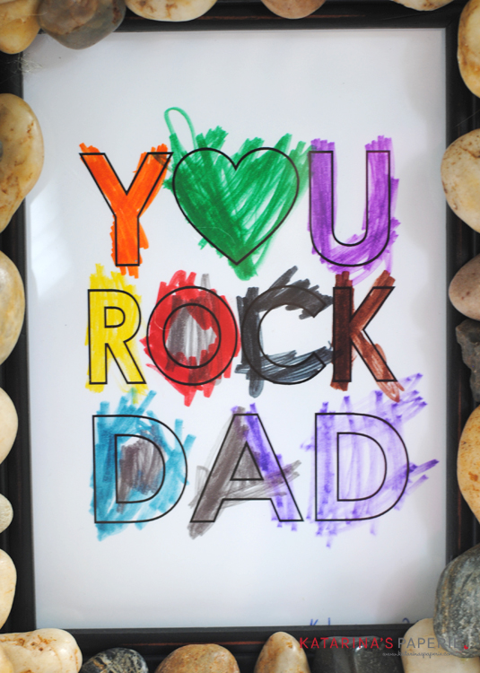 Free printable You Rock Dad coloring page by Katarina's Paperie