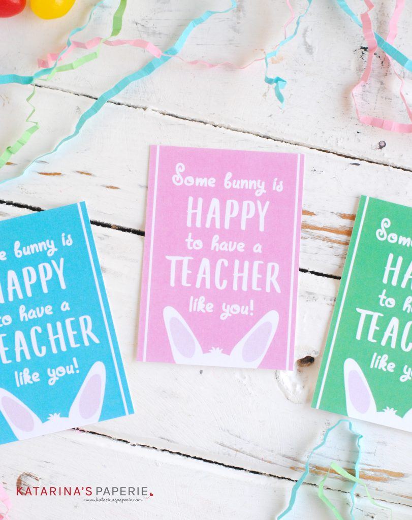 3 color variations of the free printable teacher Easter gift tags