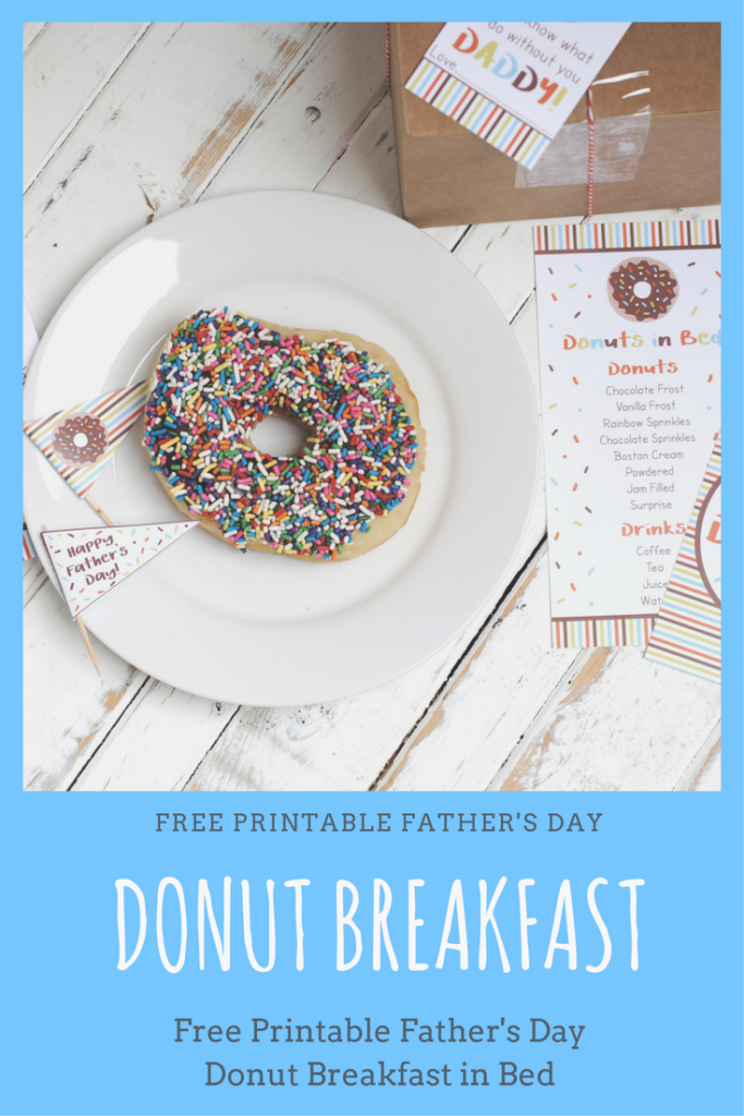 Free printable donut breakfast in bed for Father's Day