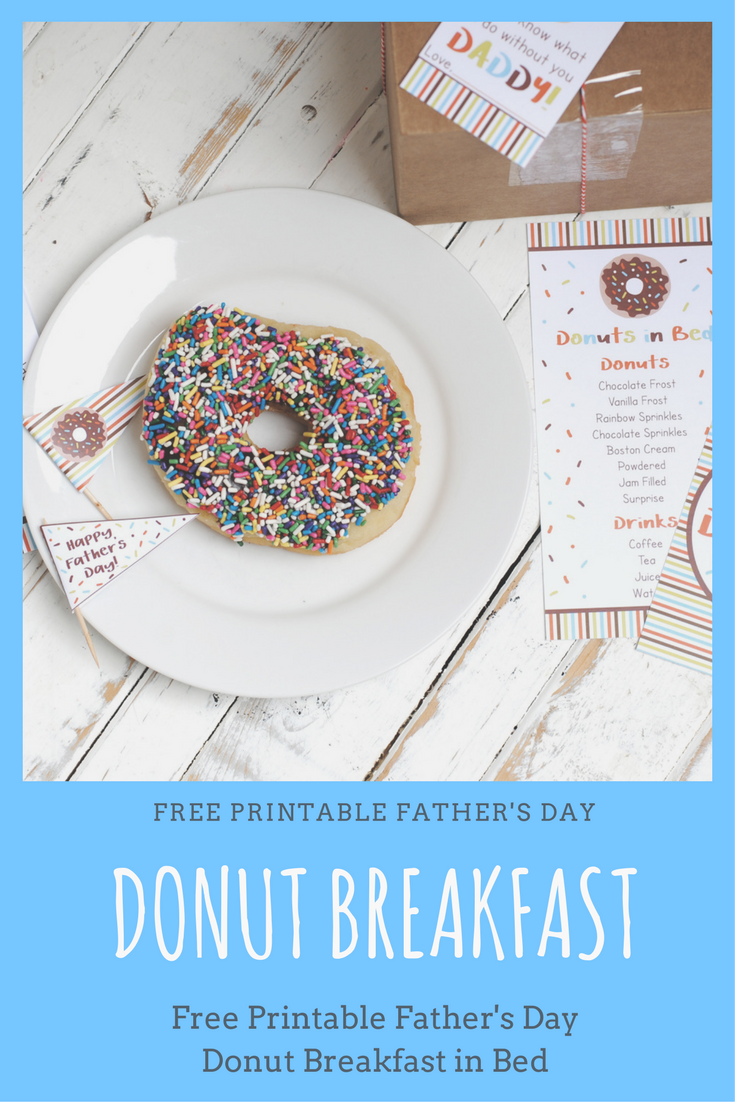 picture regarding Free Printable Fathers Day Tags called Totally free Printable Donut Fathers Working day Breakfast - KATARINAS PAPERIE