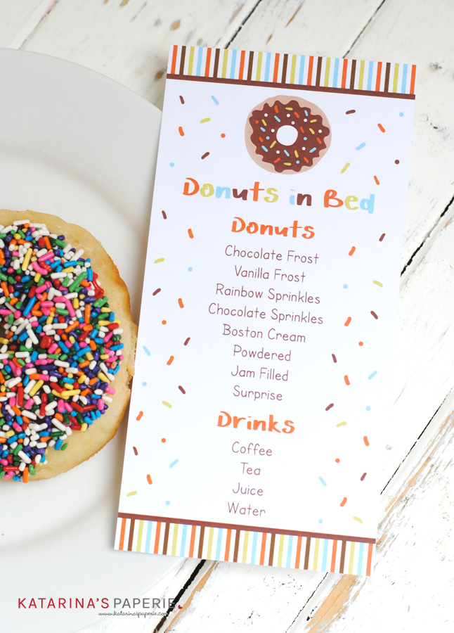 Free printable donut breakfast menu