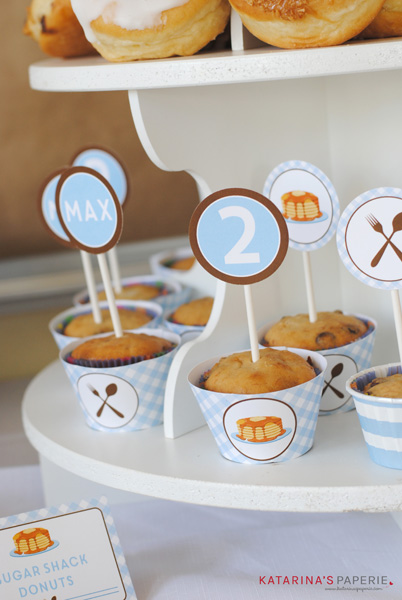 Cupcake toppers from pancakes and pajamas birthday party