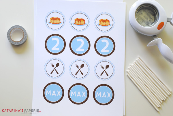Printed cupcake toppers from pancakes and pajama birthday party