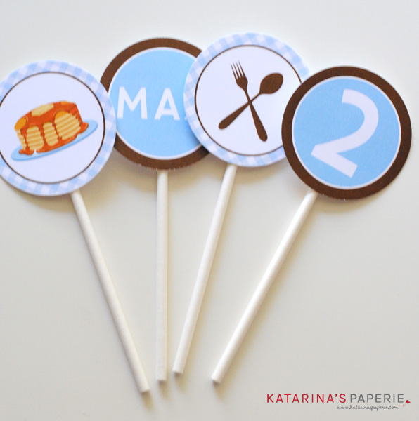Finished cupcake toppers for pancakes and pajamas birthday party